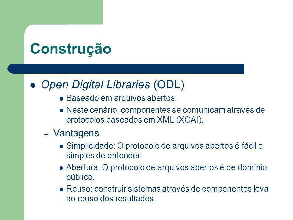 Construção Open Digital Libraries (ODL) Vantagens