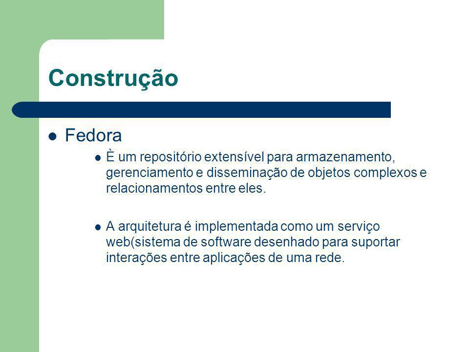Construção Fedora. È um repositório extensível para armazenamento, gerenciamento e disseminação de objetos complexos e relacionamentos entre eles.