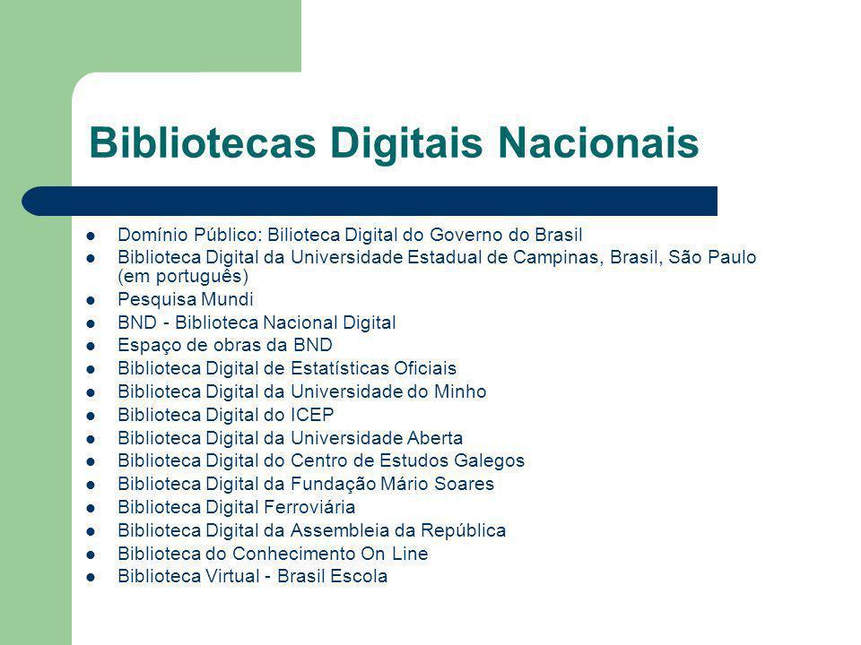Bibliotecas Digitais Nacionais
