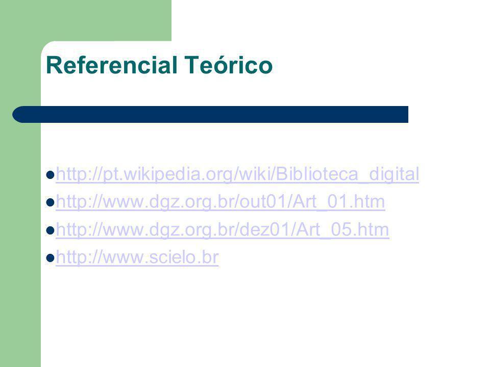 Referencial Teórico http://pt.wikipedia.org/wiki/Biblioteca_digital