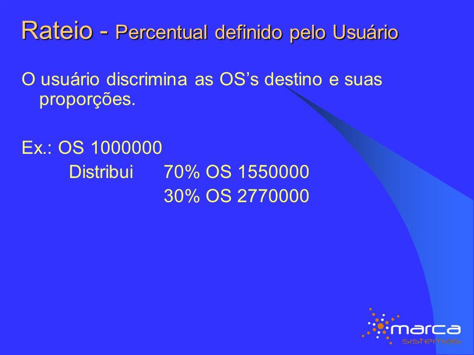 Rateio - Percentual definido pelo Usuário