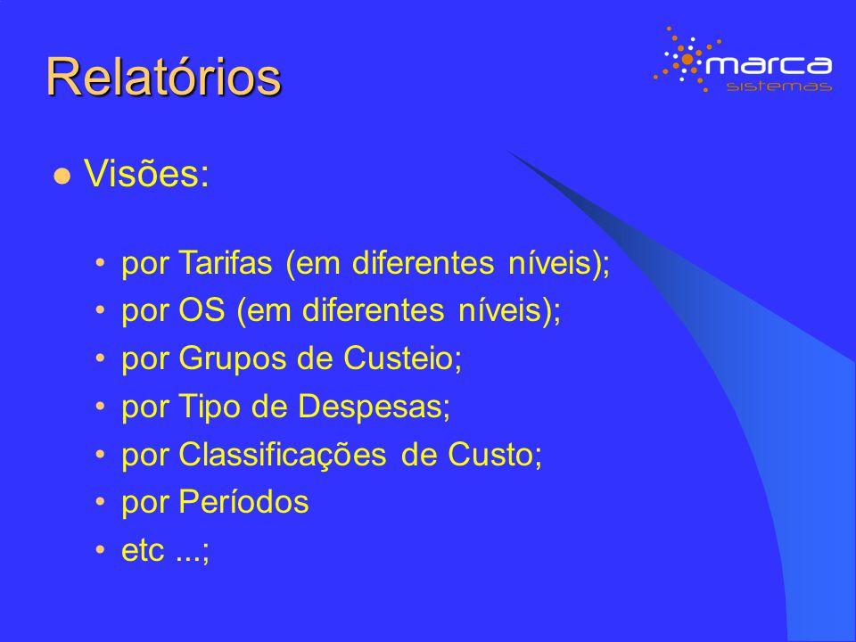 Relatórios Visões: por Tarifas (em diferentes níveis);