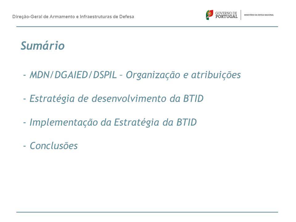 Sumário MDN/DGAIED/DSPIL – Organização e atribuições