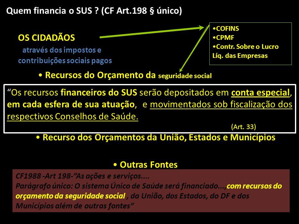 Quem financia o SUS (CF Art.198 § único)