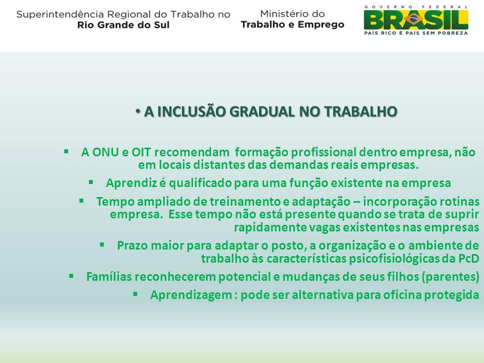 A INCLUSÃO GRADUAL NO TRABALHO