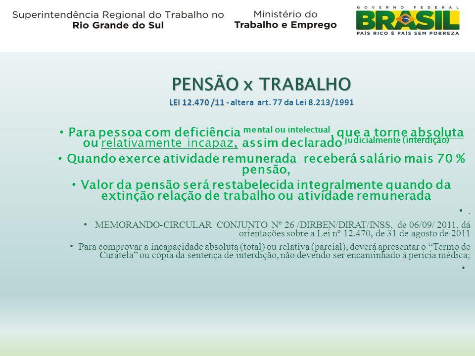 PENSÃO x TRABALHO LEI 12.470 /11 - altera art. 77 da Lei 8.213/1991.