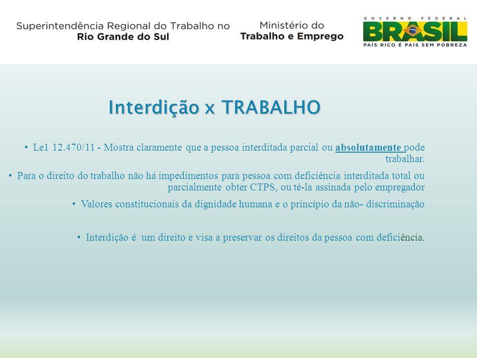 Interdição x TRABALHO Le1 12.470/11 - Mostra claramente que a pessoa interditada parcial ou absolutamente pode trabalhar.