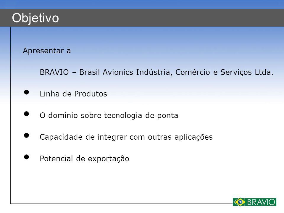 Objetivo Apresentar a. BRAVIO – Brasil Avionics Indústria, Comércio e Serviços Ltda. Linha de Produtos.