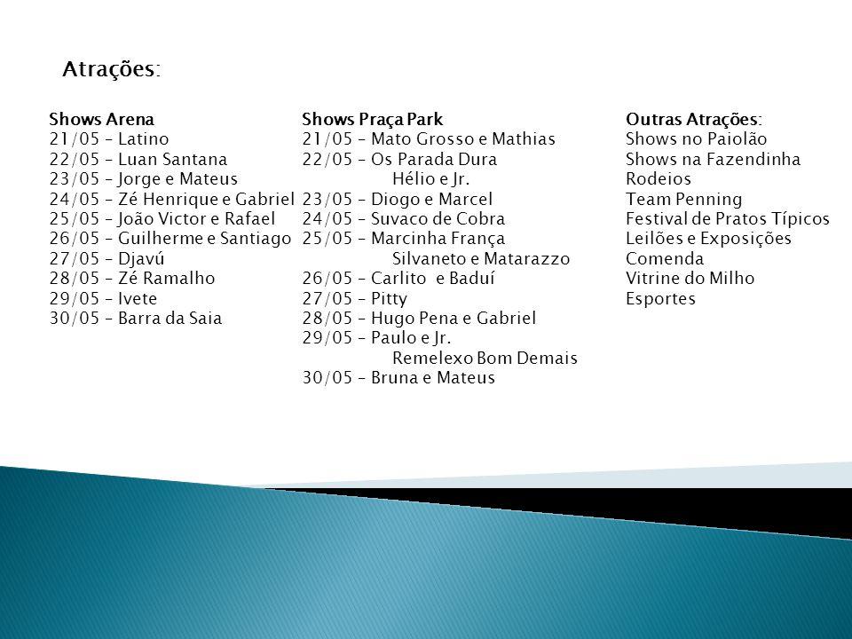 Atrações: Shows Arena 21/05 – Latino 22/05 – Luan Santana