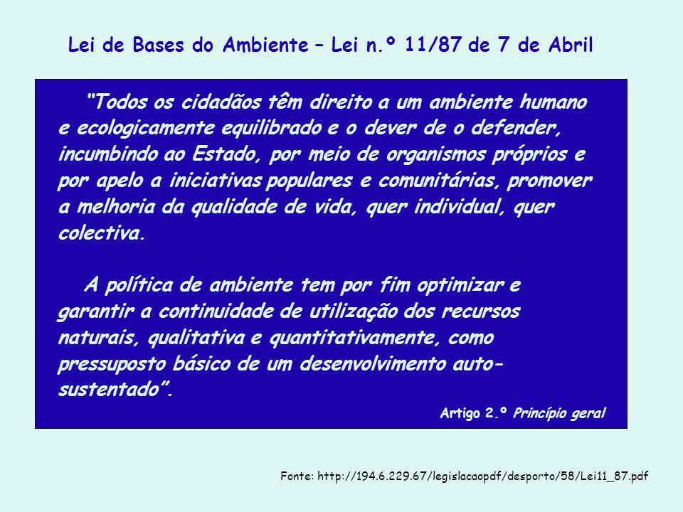 Lei de Bases do Ambiente – Lei n.º 11/87 de 7 de Abril