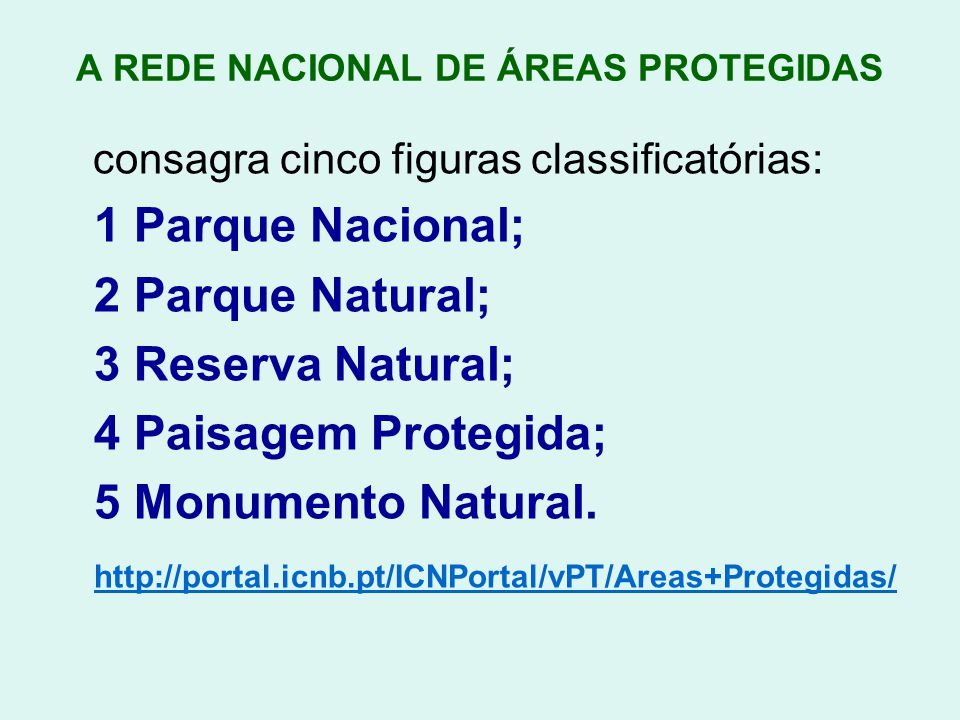 A REDE NACIONAL DE ÁREAS PROTEGIDAS