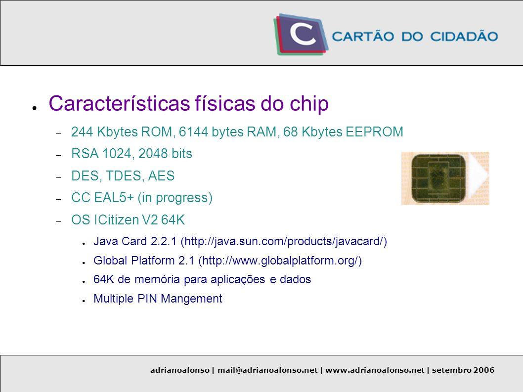 Características físicas do chip