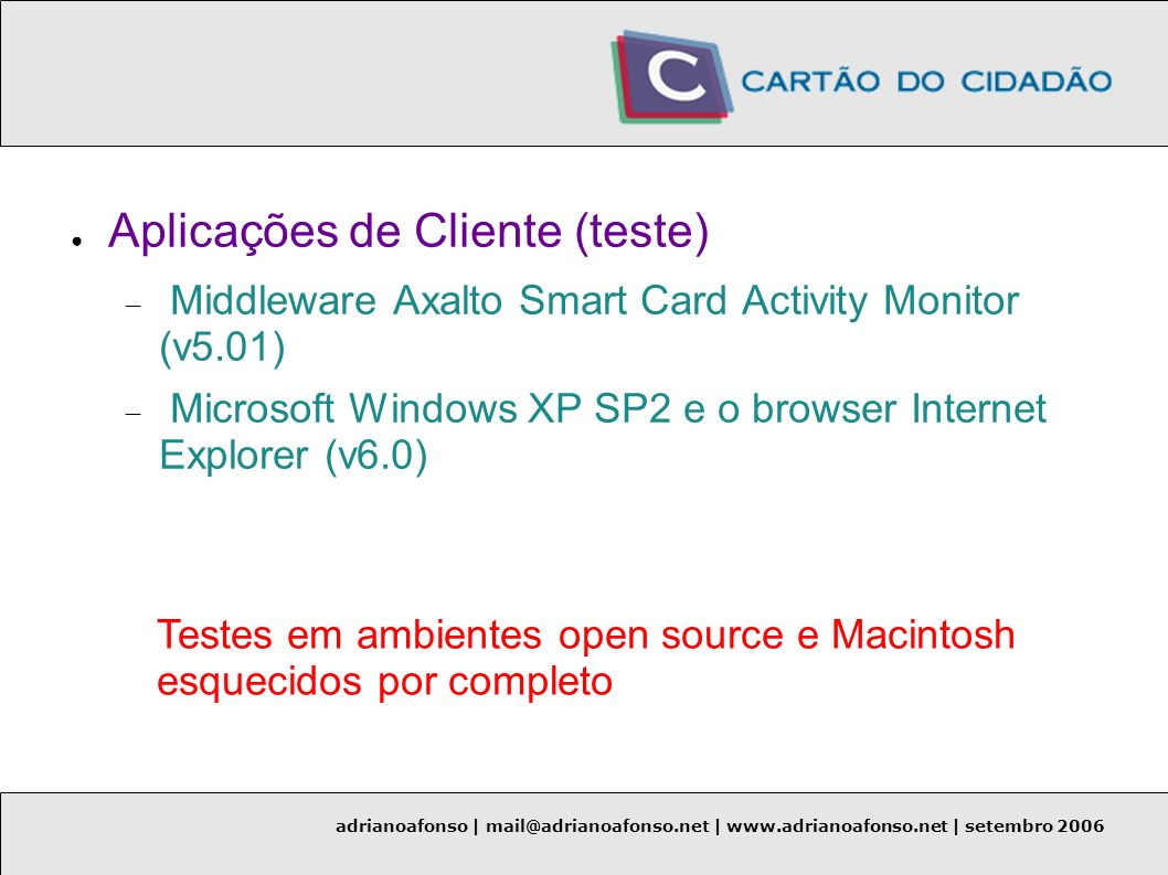 Aplicações de Cliente (teste)