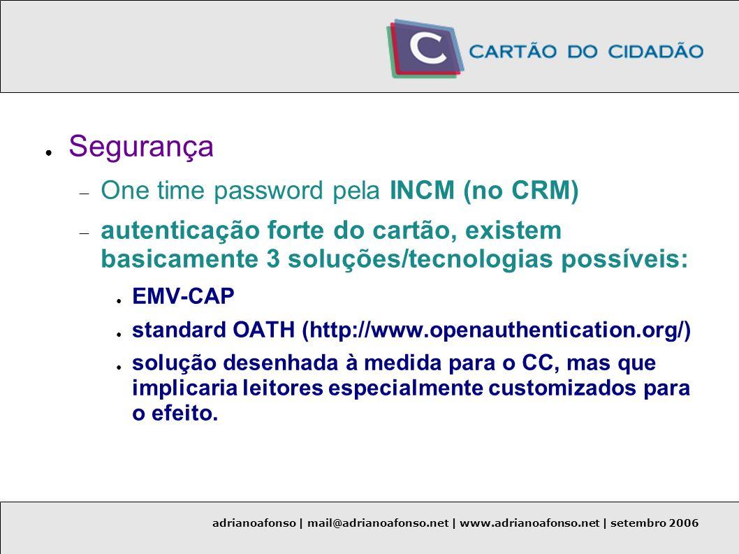 Segurança One time password pela INCM (no CRM)