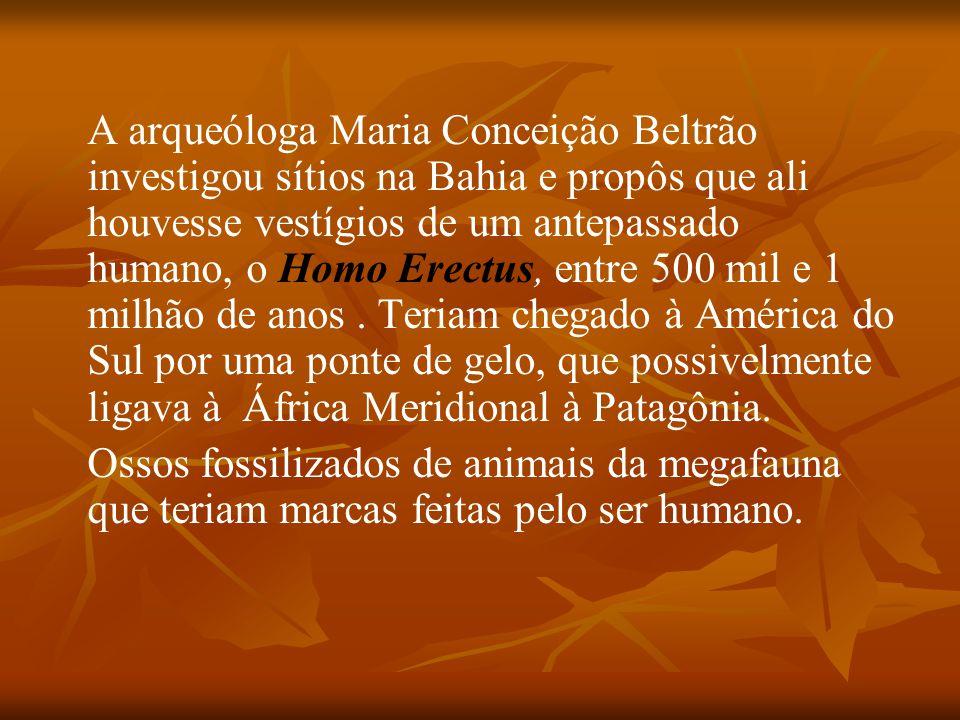 A arqueóloga Maria Conceição Beltrão investigou sítios na Bahia e propôs que ali houvesse vestígios de um antepassado humano, o Homo Erectus, entre 500 mil e 1 milhão de anos . Teriam chegado à América do Sul por uma ponte de gelo, que possivelmente ligava à África Meridional à Patagônia.