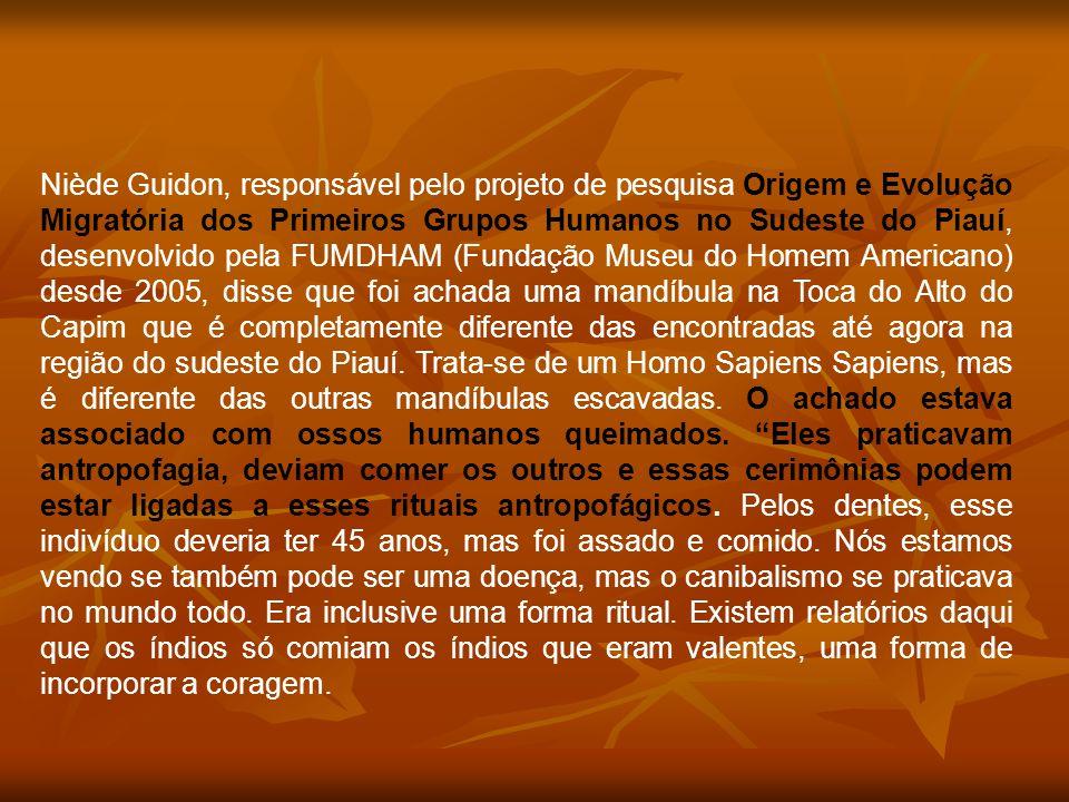 Niède Guidon, responsável pelo projeto de pesquisa Origem e Evolução Migratória dos Primeiros Grupos Humanos no Sudeste do Piauí, desenvolvido pela FUMDHAM (Fundação Museu do Homem Americano) desde 2005, disse que foi achada uma mandíbula na Toca do Alto do Capim que é completamente diferente das encontradas até agora na região do sudeste do Piauí. Trata-se de um Homo Sapiens Sapiens, mas é diferente das outras mandíbulas escavadas. O achado estava associado com ossos humanos queimados. Eles praticavam antropofagia, deviam comer os outros e essas cerimônias podem estar ligadas a esses rituais antropofágicos. Pelos dentes, esse indivíduo deveria ter 45 anos, mas foi assado e comido. Nós estamos vendo se também pode ser uma doença, mas o canibalismo se praticava no mundo todo. Era inclusive uma forma ritual. Existem relatórios daqui que os índios só comiam os índios que eram valentes, uma forma de incorporar a coragem.