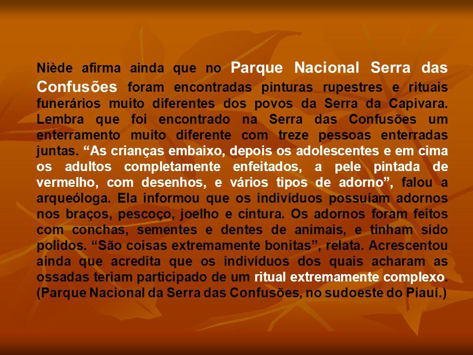 Niède afirma ainda que no Parque Nacional Serra das Confusões foram encontradas pinturas rupestres e rituais funerários muito diferentes dos povos da Serra da Capivara.