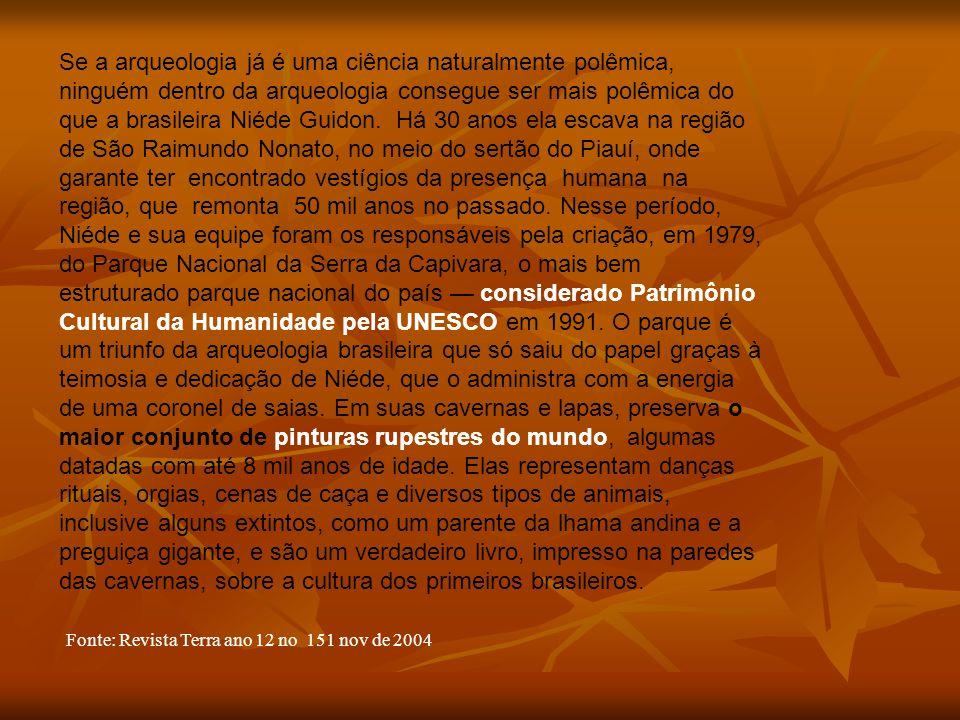 Se a arqueologia já é uma ciência naturalmente polêmica, ninguém dentro da arqueologia consegue ser mais polêmica do que a brasileira Niéde Guidon. Há 30 anos ela escava na região de São Raimundo Nonato, no meio do sertão do Piauí, onde garante ter encontrado vestígios da presença humana na região, que remonta 50 mil anos no passado. Nesse período, Niéde e sua equipe foram os responsáveis pela criação, em 1979, do Parque Nacional da Serra da Capivara, o mais bem estruturado parque nacional do país — considerado Patrimônio Cultural da Humanidade pela UNESCO em 1991. O parque é um triunfo da arqueologia brasileira que só saiu do papel graças à teimosia e dedicação de Niéde, que o administra com a energia de uma coronel de saias. Em suas cavernas e lapas, preserva o maior conjunto de pinturas rupestres do mundo, algumas datadas com até 8 mil anos de idade. Elas representam danças rituais, orgias, cenas de caça e diversos tipos de animais, inclusive alguns extintos, como um parente da lhama andina e a preguiça gigante, e são um verdadeiro livro, impresso na paredes das cavernas, sobre a cultura dos primeiros brasileiros.