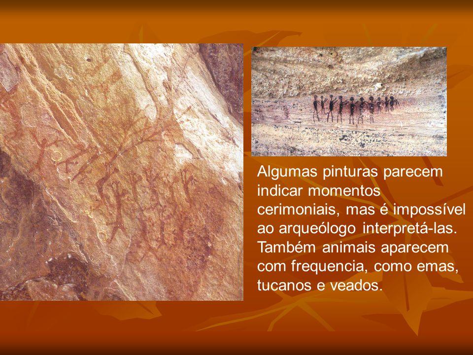 Algumas pinturas parecem indicar momentos cerimoniais, mas é impossível ao arqueólogo interpretá-las. Também animais aparecem com frequencia, como emas, tucanos e veados.
