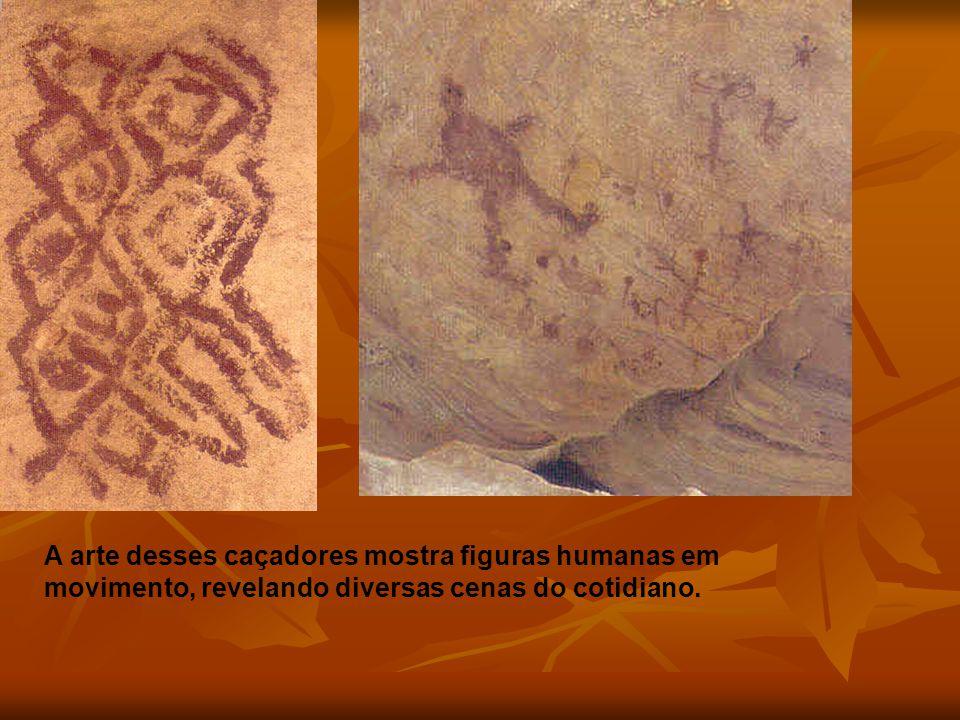 GEOMÉTRICA A arte desses caçadores mostra figuras humanas em movimento, revelando diversas cenas do cotidiano.
