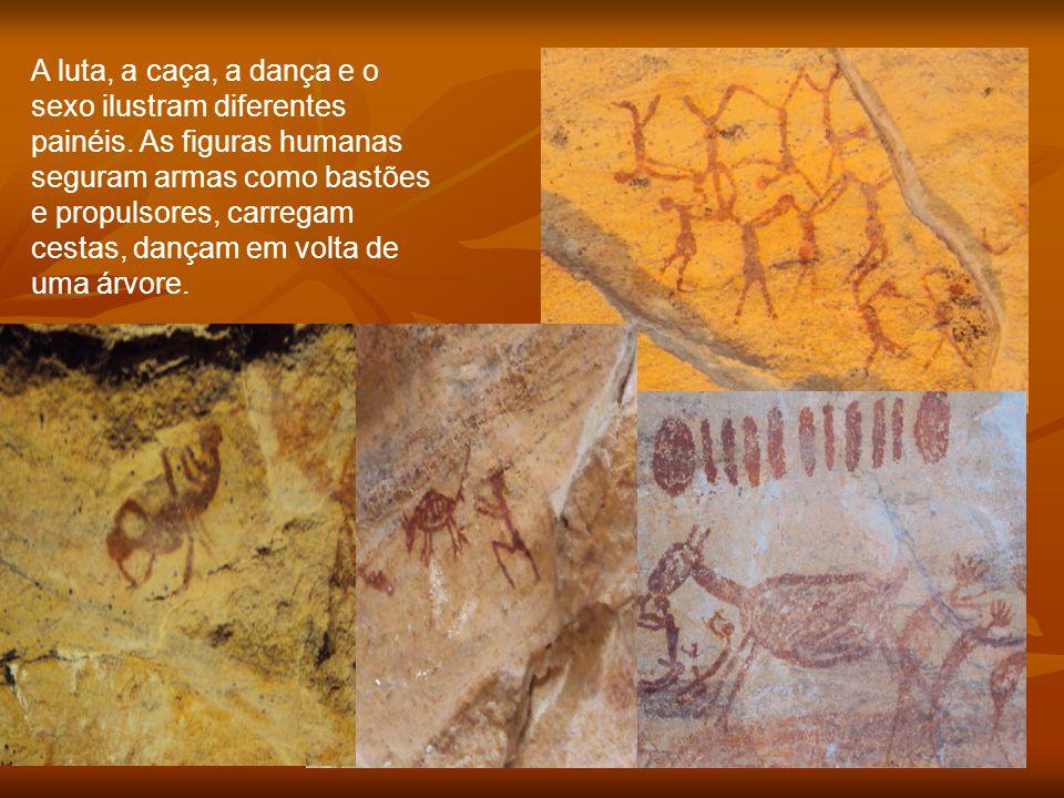 A luta, a caça, a dança e o sexo ilustram diferentes painéis