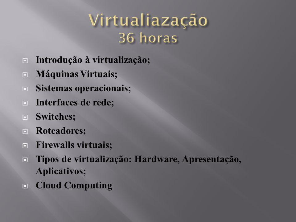 Virtualiazação 36 horas Introdução à virtualização; Máquinas Virtuais;