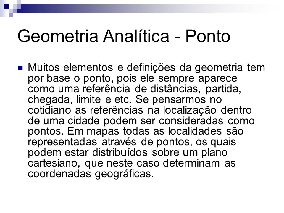 Geometria Analítica - Ponto