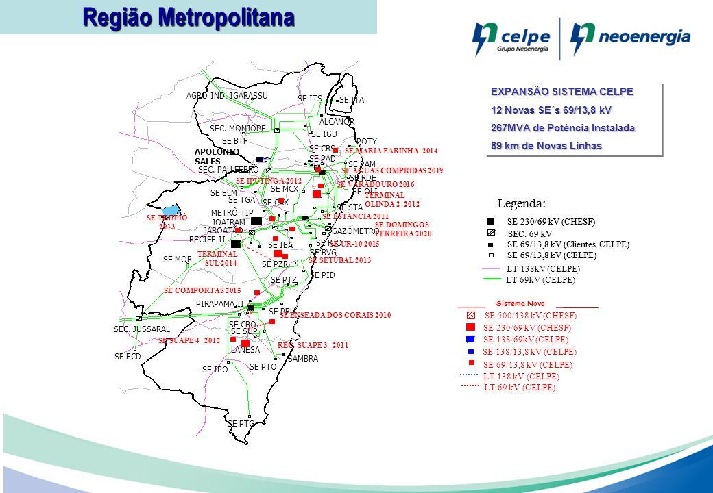 Região Metropolitana Legenda: 14 14 EXPANSÃO SISTEMA CELPE