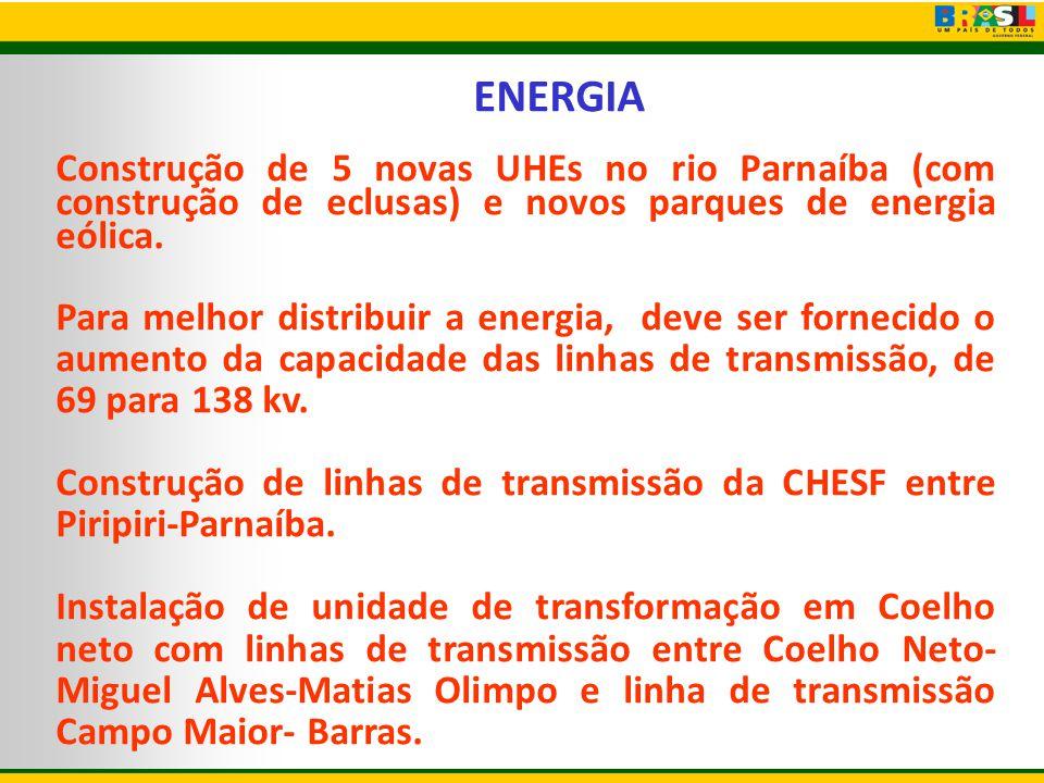 ENERGIA Construção de 5 novas UHEs no rio Parnaíba (com construção de eclusas) e novos parques de energia eólica.