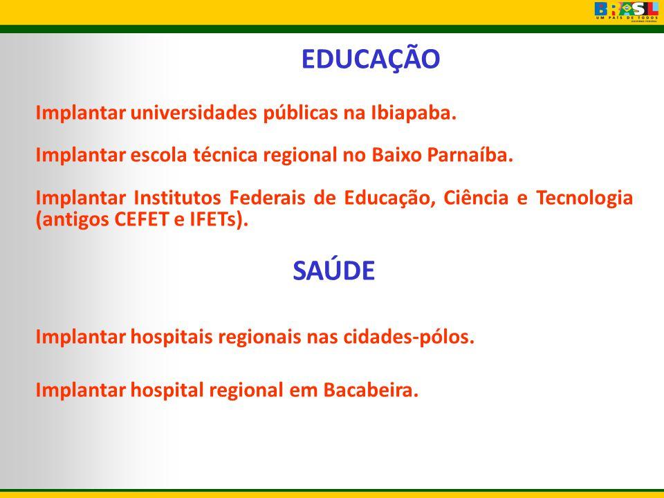 EDUCAÇÃO SAÚDE Implantar universidades públicas na Ibiapaba.