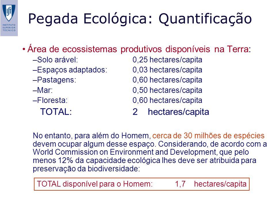 Pegada Ecológica: Quantificação