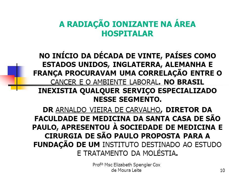 A RADIAÇÃO IONIZANTE NA ÁREA HOSPITALAR