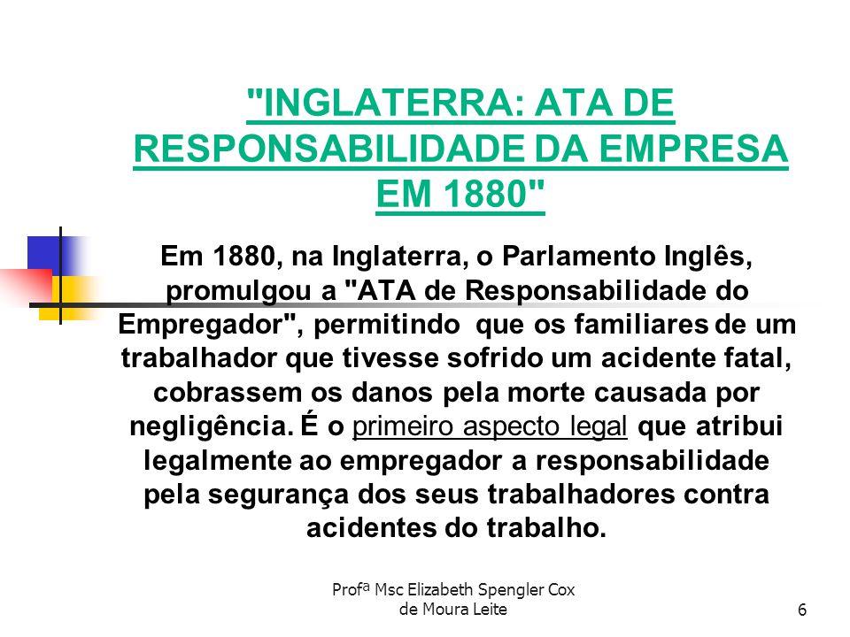 INGLATERRA: ATA DE RESPONSABILIDADE DA EMPRESA EM 1880