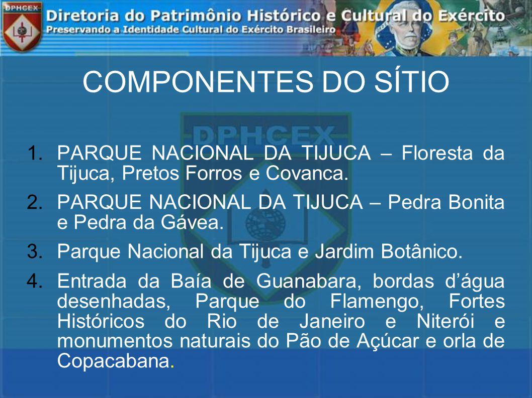 COMPONENTES DO SÍTIO PARQUE NACIONAL DA TIJUCA – Floresta da Tijuca, Pretos Forros e Covanca.