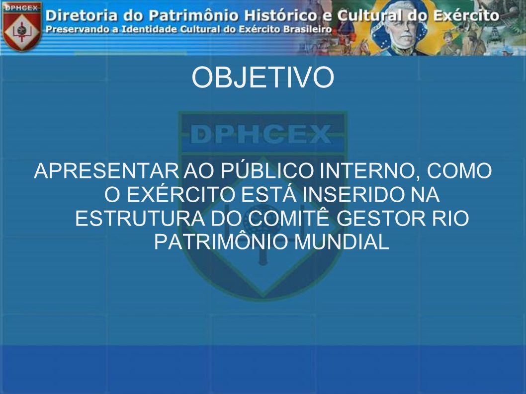 OBJETIVO APRESENTAR AO PÚBLICO INTERNO, COMO O EXÉRCITO ESTÁ INSERIDO NA ESTRUTURA DO COMITÊ GESTOR RIO PATRIMÔNIO MUNDIAL.