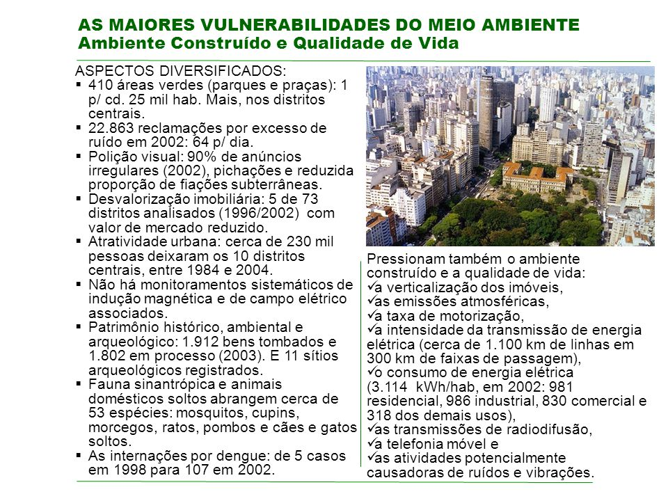 AS MAIORES VULNERABILIDADES DO MEIO AMBIENTE