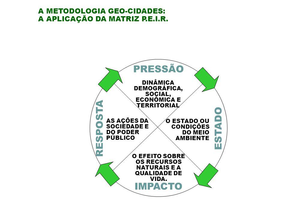 PRESSÃO RESPOSTA ESTADO IMPACTO A METODOLOGIA GEO-CIDADES: