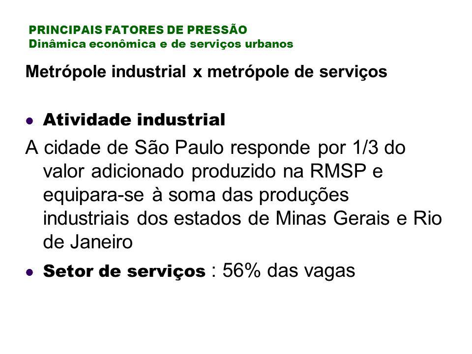 PRINCIPAIS FATORES DE PRESSÃO Dinâmica econômica e de serviços urbanos
