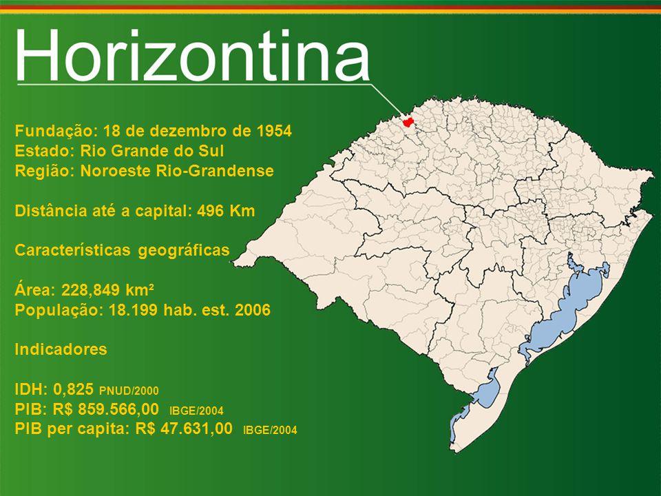 Fundação: 18 de dezembro de 1954 Estado: Rio Grande do Sul Região: Noroeste Rio-Grandense Distância até a capital: 496 Km Características geográficas Área: 228,849 km² População: 18.199 hab.