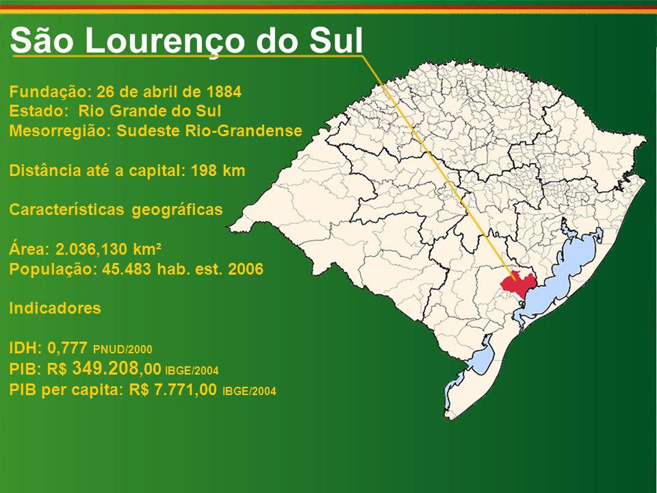 Fundação: 26 de abril de 1884 Estado: Rio Grande do Sul. Mesorregião: Sudeste Rio-Grandense. Distância até a capital: 198 km.