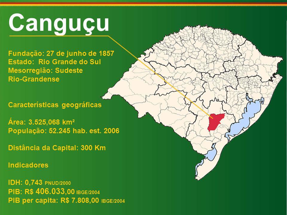 Fundação: 27 de junho de 1857 Estado: Rio Grande do Sul. Mesorregião: Sudeste. Rio-Grandense. Características geográficas.