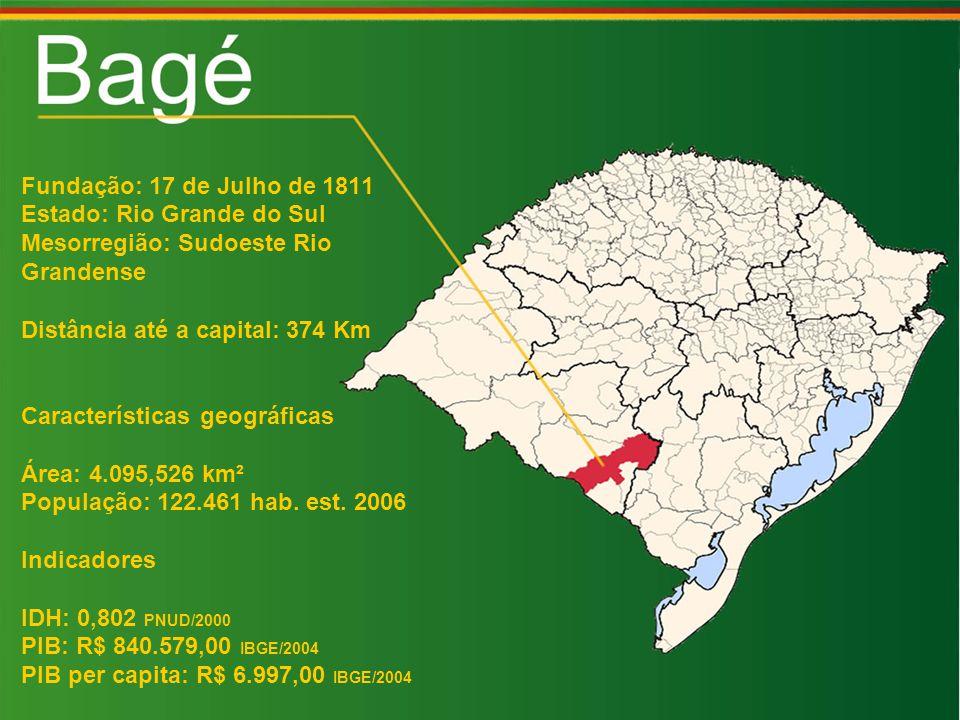 Fundação: 17 de Julho de 1811 Estado: Rio Grande do Sul. Mesorregião: Sudoeste Rio. Grandense. Distância até a capital: 374 Km.