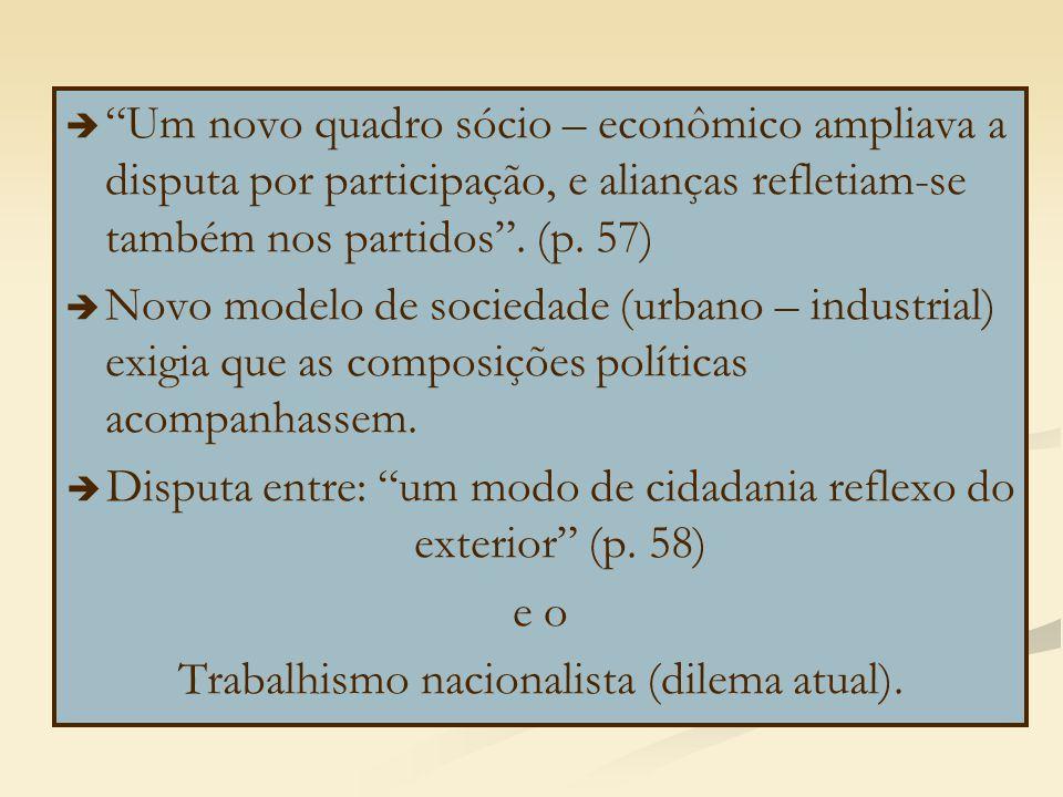 Disputa entre: um modo de cidadania reflexo do exterior (p. 58) e o