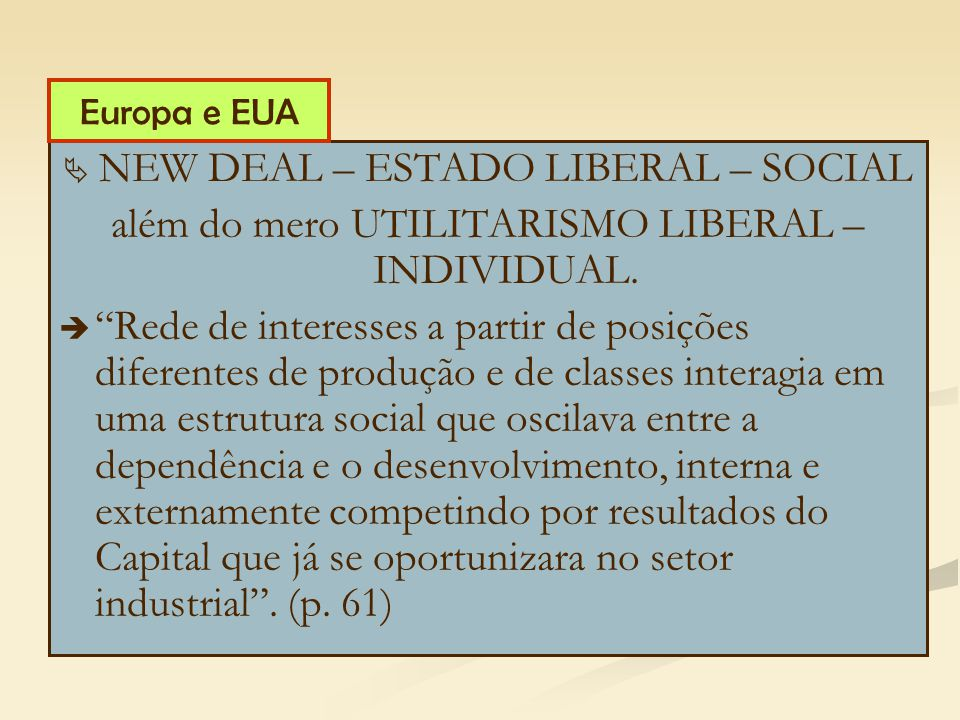 NEW DEAL – ESTADO LIBERAL – SOCIAL