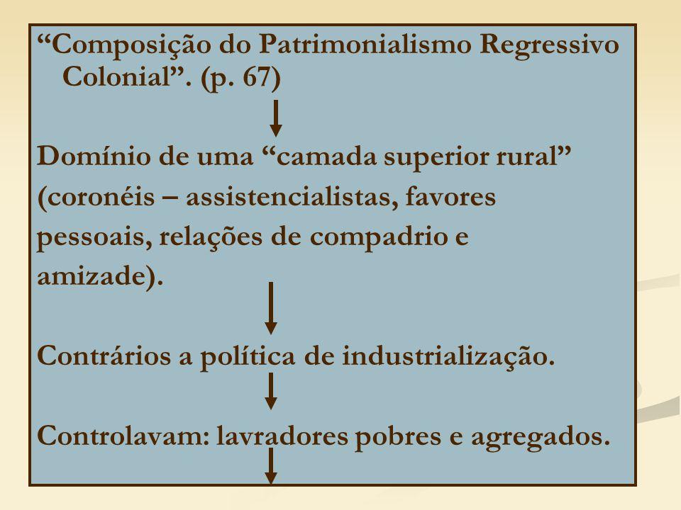 Composição do Patrimonialismo Regressivo Colonial . (p. 67)