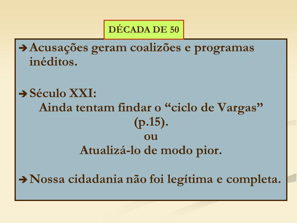Ainda tentam findar o ciclo de Vargas Atualizá-lo de modo pior.