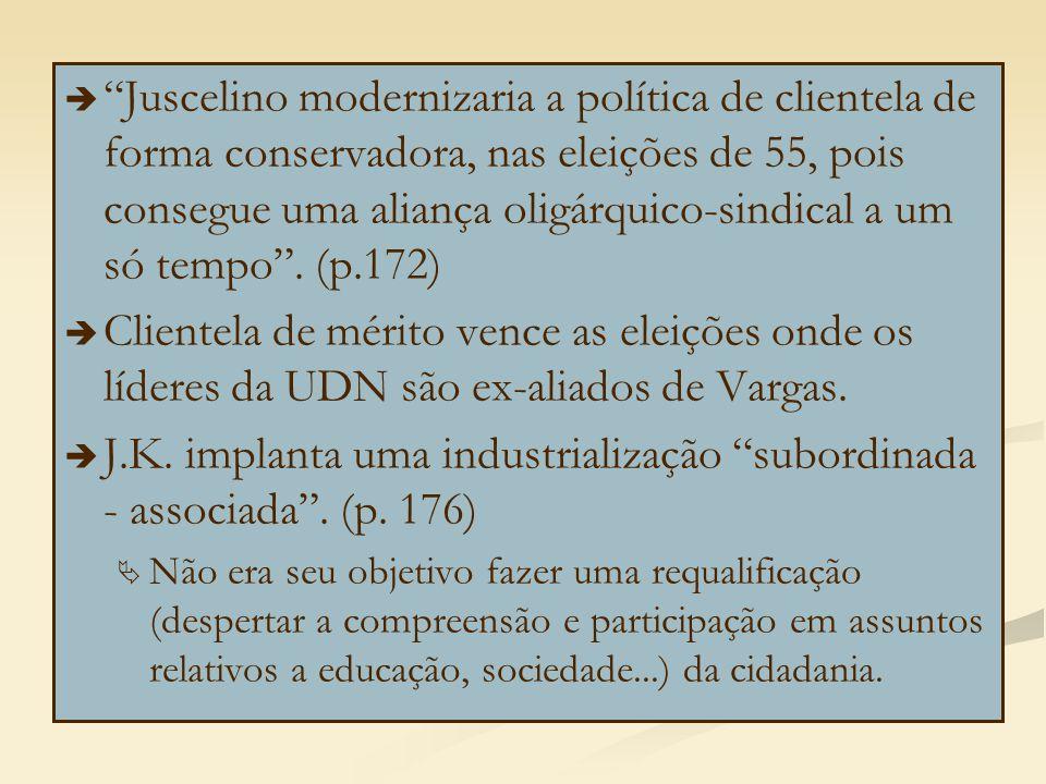 J.K. implanta uma industrialização subordinada - associada . (p. 176)