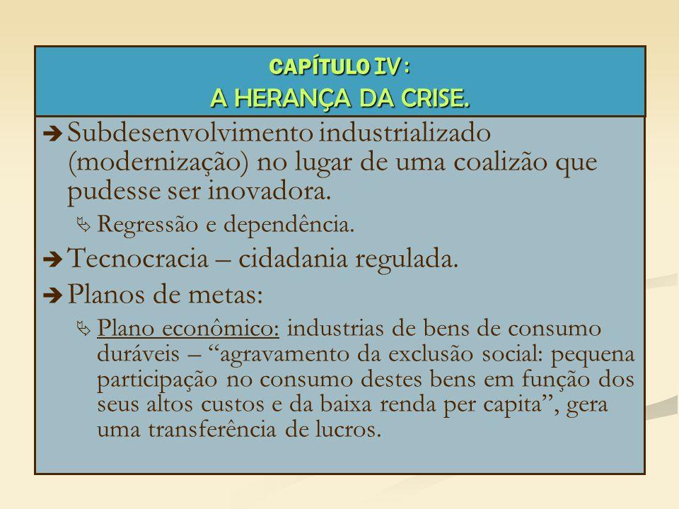 CAPÍTULO IV: A HERANÇA DA CRISE.