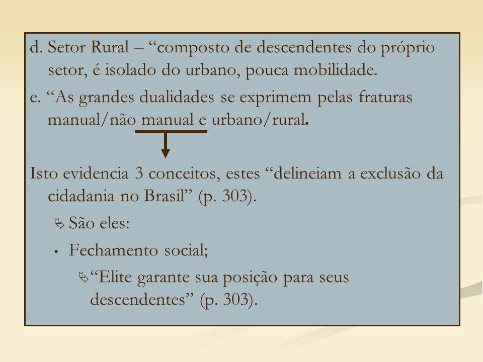 d. Setor Rural – composto de descendentes do próprio setor, é isolado do urbano, pouca mobilidade.