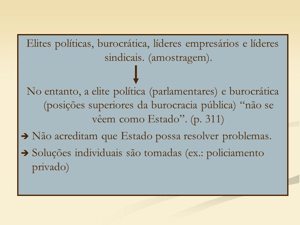 Elites políticas, burocrática, líderes empresários e líderes sindicais